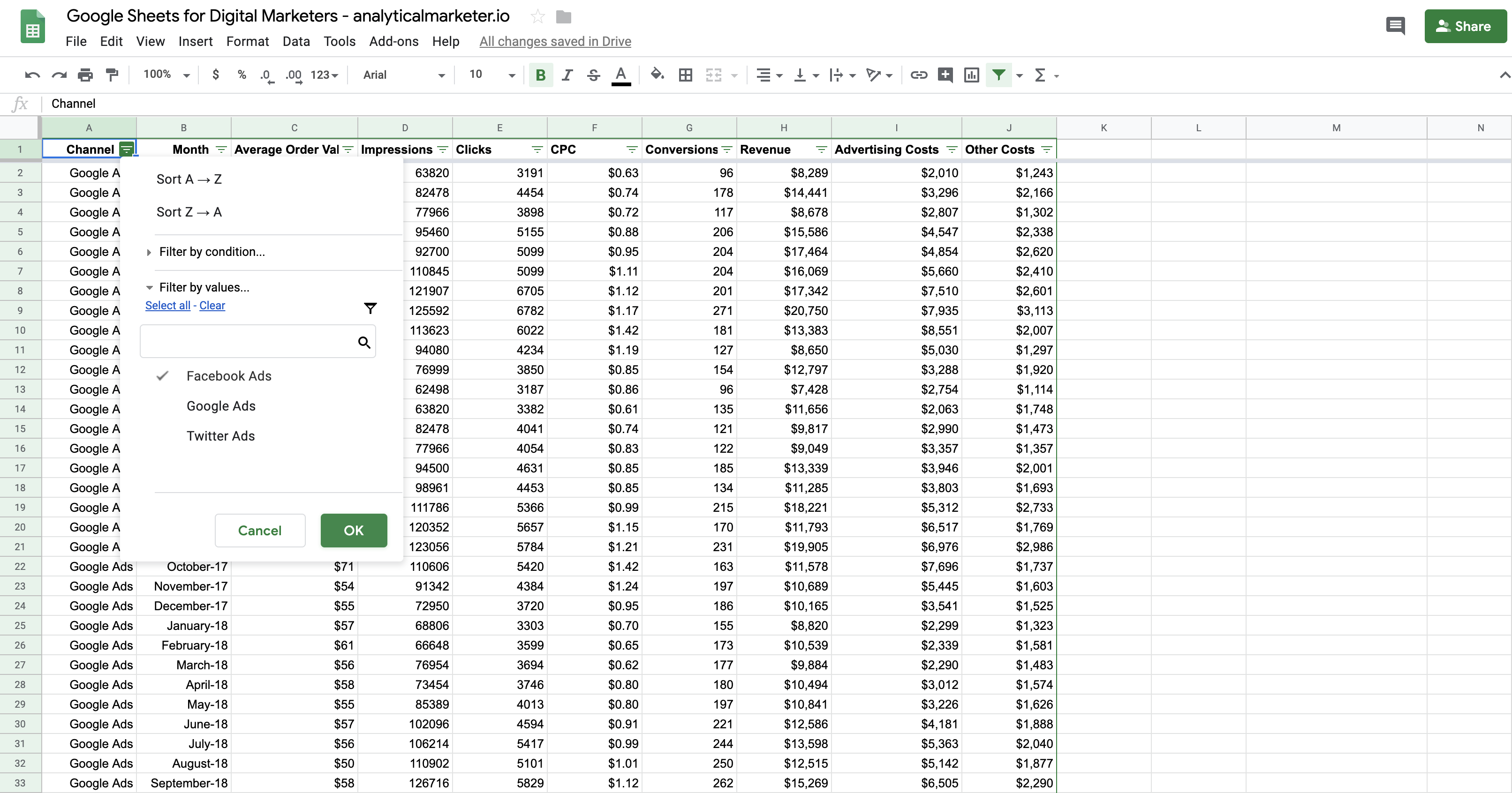 Google Sheets formulas for marketing - filter