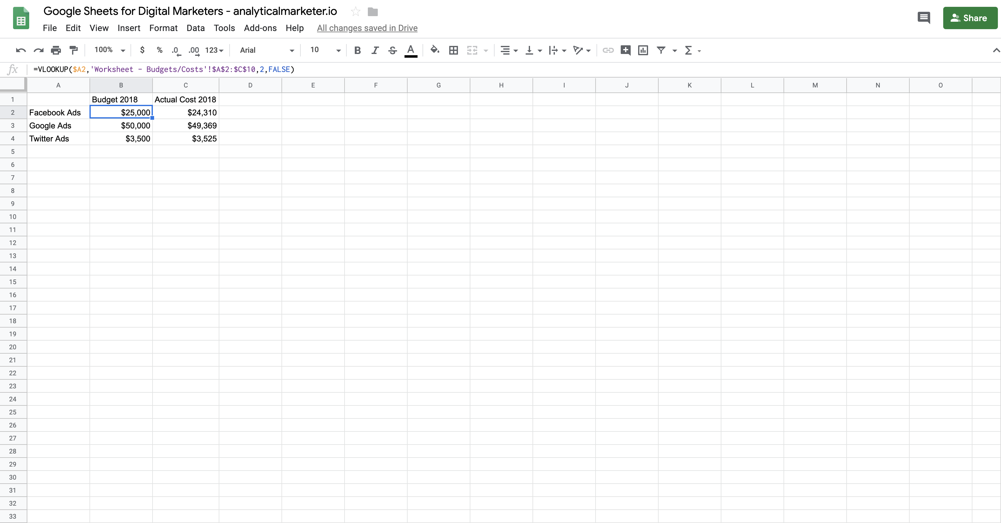 Google Sheets formulas for marketing - VLOOKUP