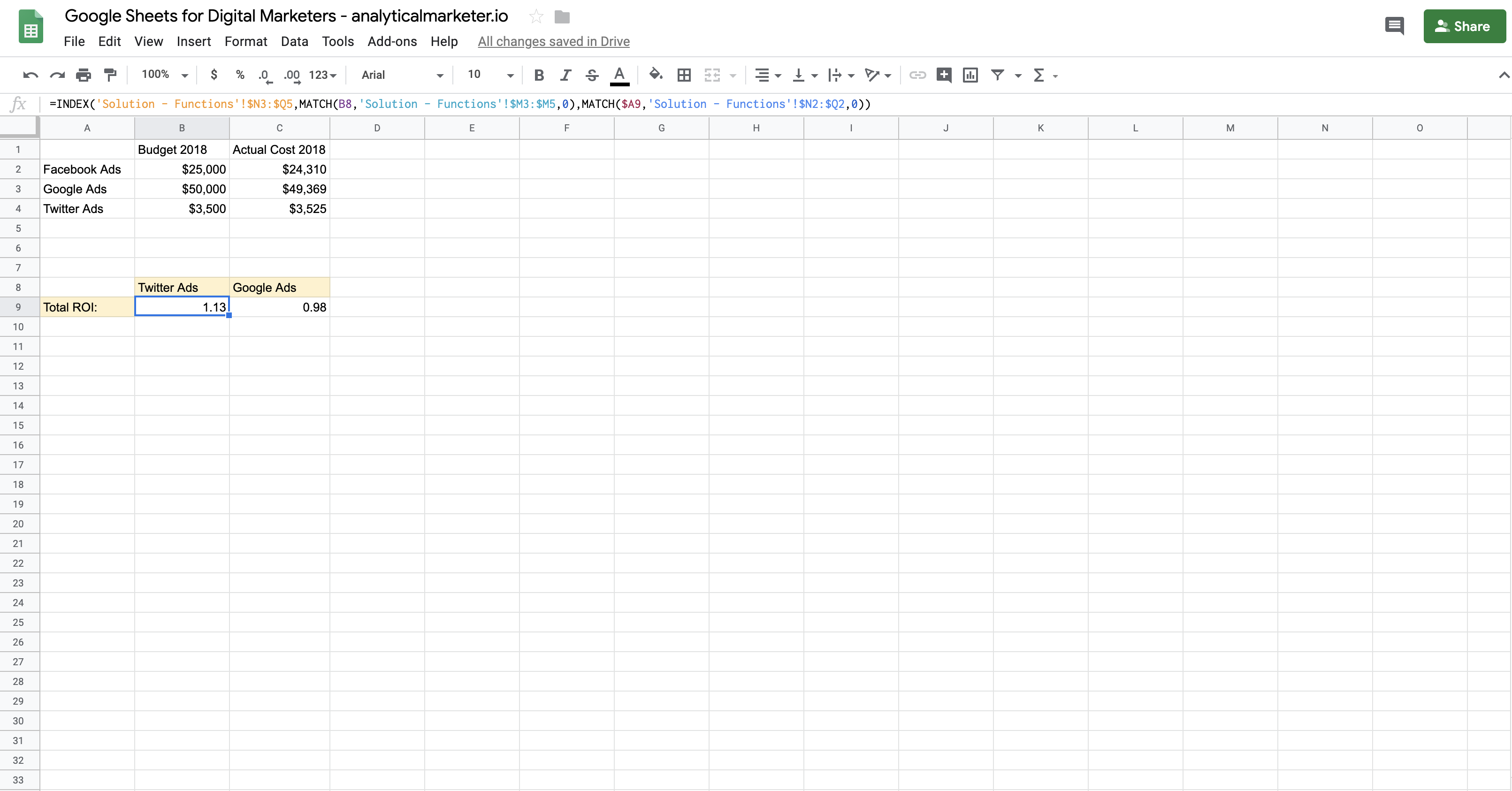 Google Sheets formulas for marketing - INDEXMATCH